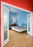 Blue bedroom. In the flat Stock Images