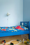 Blue bedroom for boy Royalty Free Stock Photography