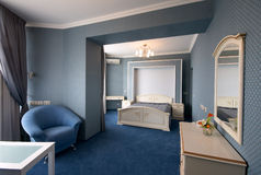 Blue bedroom interior Stock Photo
