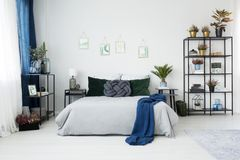 Blue bedroom interior with pictures. Blue blanket on bed between nightstands with lamp and plant in bedroom interior with pictures Stock Image