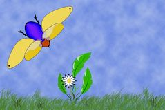 Blue Bee. And whit flower , summer day. Vector clip-art / isolated illustration for your design Stock Photography