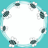 Blue bees flying frame. Border frame with bees flying around royalty free illustration