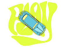 Blue beetle car. An illustration of a blue beetle car on the word play Royalty Free Stock Photo