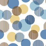 Blue and beige abstract simple striped circles geometric seamless pattern, vector. Background stock illustration