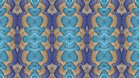 Blue and beige abstract symmetric background for printing on clo Stock Image