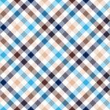 Blue beige diagonal check shirt seamless fabric texture Stock Photo