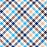 Blue beige diagonal check shirt seamless fabric texture Royalty Free Stock Image