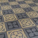 Blue and beige floor tiles. Old blue and beige floor tiles with geometric pattern royalty free stock images