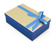 Blue-beige gift box. With bow and ribbon blue color on a white background. 3d Stock Photo