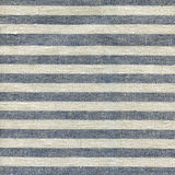 Blue, beige, gray stripe pattern on linen fabric Stock Images
