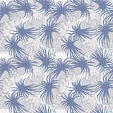 Blue and beige palms and waves summer seamless pat. Seamless summer pattern vector illustration of blue and beige palms and waves royalty free illustration