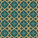 Blue and beige royal pattern. The Seamless vector background royalty free illustration