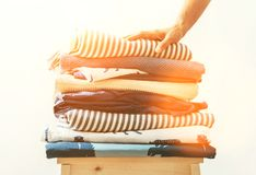 Blue and beige textile laundry for cozy home Stock Images