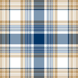 Blue beige white checkered plaid seamless pattern Royalty Free Stock Images
