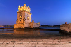 Blue Belem. Beautiful image of the famous Belem tower after sunset during the blue hour in Lisbon, Portugal royalty free stock images