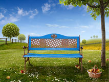 Blue bench. Green Background with blue Bench for your Art Stock Image