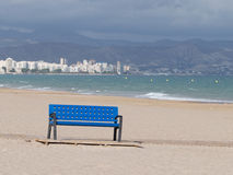 Blue bench on the beach Stock Images