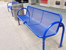 Blue bench Stock Image