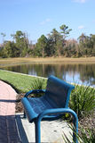 Blue bench by the lake. Relaxing place Stock Photos