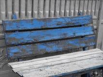 Blue bench - selective colour Stock Photos