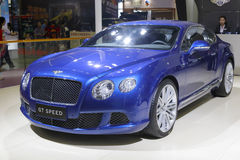 Blue bentley gt speed car Royalty Free Stock Images