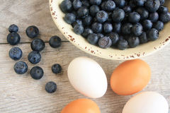 Blue berries and brown and white eggs Royalty Free Stock Photos