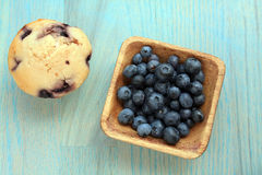 Blue berries and muffin Royalty Free Stock Photo