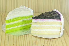 Blue berry cake and pandan layers Chiffon cake Stock Images