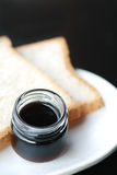 Blue berry jam and bread. Royalty Free Stock Images