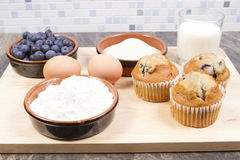 Blue berry muffins Stock Images