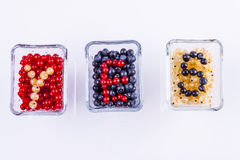 Blue berry, red and white currant - white backgrou Royalty Free Stock Image