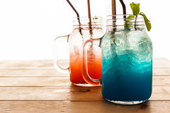 Blue berry soda punch and strawberry punch Stock Photography