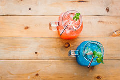 Blue berry soda punch and strawberry punch Royalty Free Stock Image