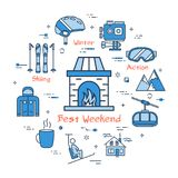 Blue Best Weekend Mountain Concept. Vector linear blue round concept of Best Weekend in Mountain. Line icons of home fireplace with fire, ski resort, equipment Stock Images