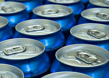 Blue beverage cans Royalty Free Stock Image