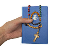 Blue bible and rosary Royalty Free Stock Photography