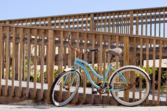 Blue Bicycle at the beach Stock Photos