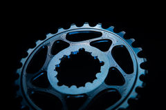 Blue Bicycle chainring Stock Image