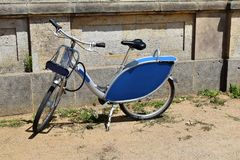 Blue bicycle outside royalty free stock photo