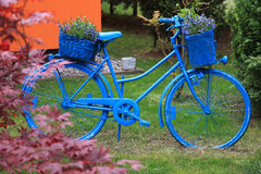 Blue bicycle garden decoration Royalty Free Stock Photos
