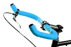 Blue bicycle handlebar Stock Images