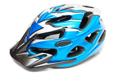 Blue bicycle helmet Royalty Free Stock Image