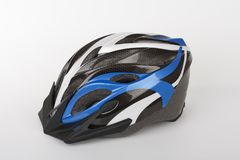 Blue bicycle helmet, protection of head injury on cycling, studio photo, isolated on background.  stock photos