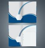 Blue bifold brochure template design, business leaflet, booklet Stock Image