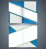Blue bifold brochure template design, business leaflet, booklet Stock Images