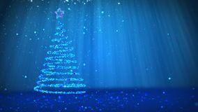 Blue big Christmas tree from glow shiny particles on the left side of screen. Winter theme for Xmas background with copy. Big Christmas tree from glow shiny stock video footage