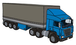 Blue big cover semitrailer. Hand drawing of a funny blue towing truck with a cover semitrailer - not a real type Stock Image