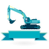 Blue big digger builds roads gigging of hole ground works on white. Royalty Free Stock Image