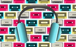 Blue big fashionable full-sized headphones for listening to music on the background of old retro vintage hipster audio cassettes f. Rom the 80`s, 90`s. Vector Stock Images