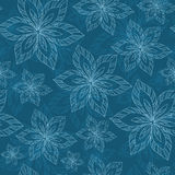Blue big flowers on a blue background vector seamless abstract h Royalty Free Stock Photos